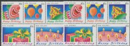 NZ SG1594a-9a Happy Birthday set of 2 booklet panes